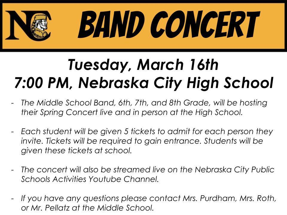 Middle School Band Concert Announcement