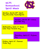 NCPS Homeschool Spirit Week