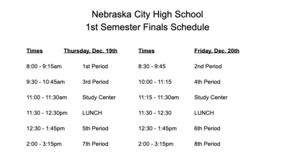 Finals Day Schedule