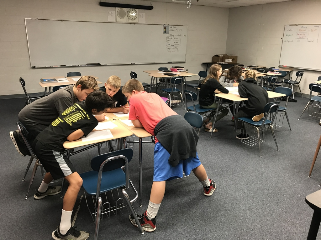 Math 7 students working on a Ratios, Rates, and Proportions Pre-test