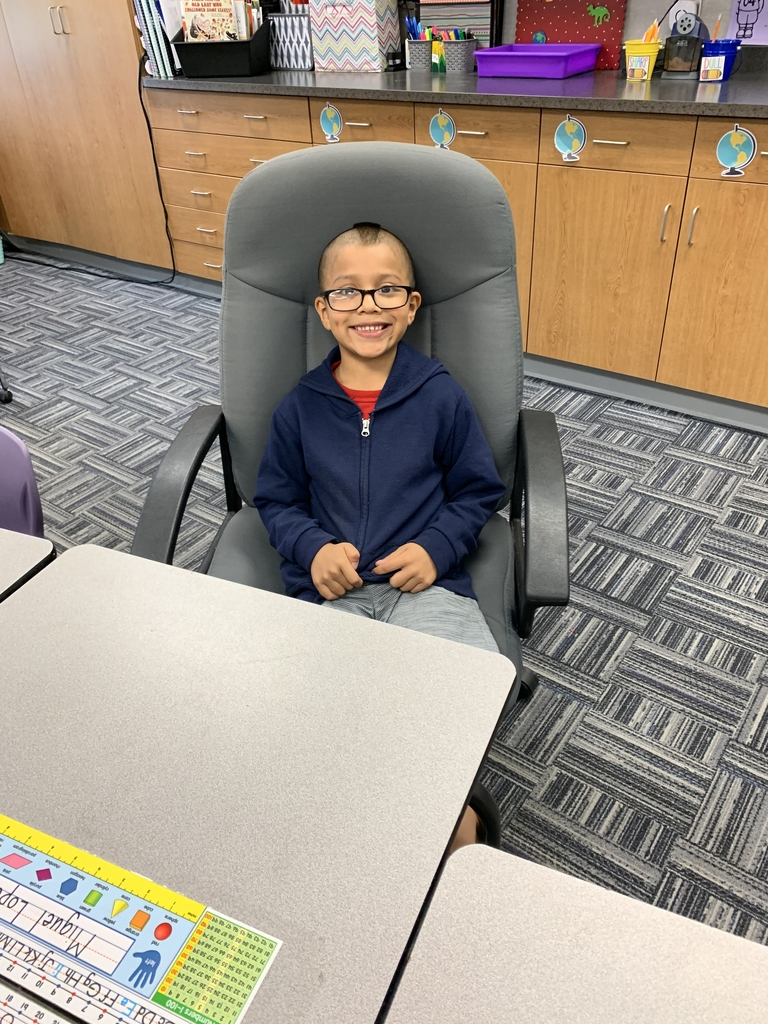 Shoutout to Miguel for getting chosen to have the principal's chair for the day by earning a positive office referral in the month of September! He was selected for this by showing safe, respectful and responsible behavior daily. Way to go, Miguel!