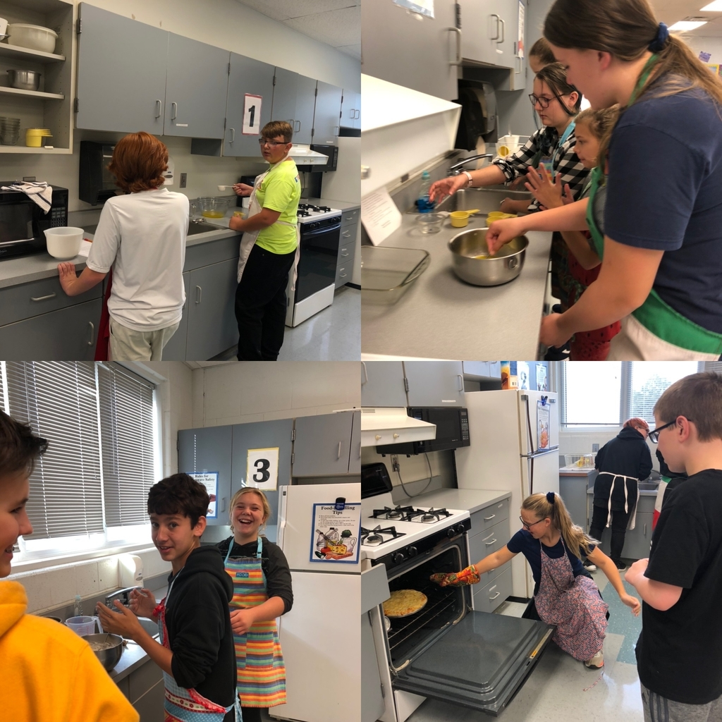 7th grade FCS students practicing reading, measuring, teamwork and problem solving to complete recipes in their labs.