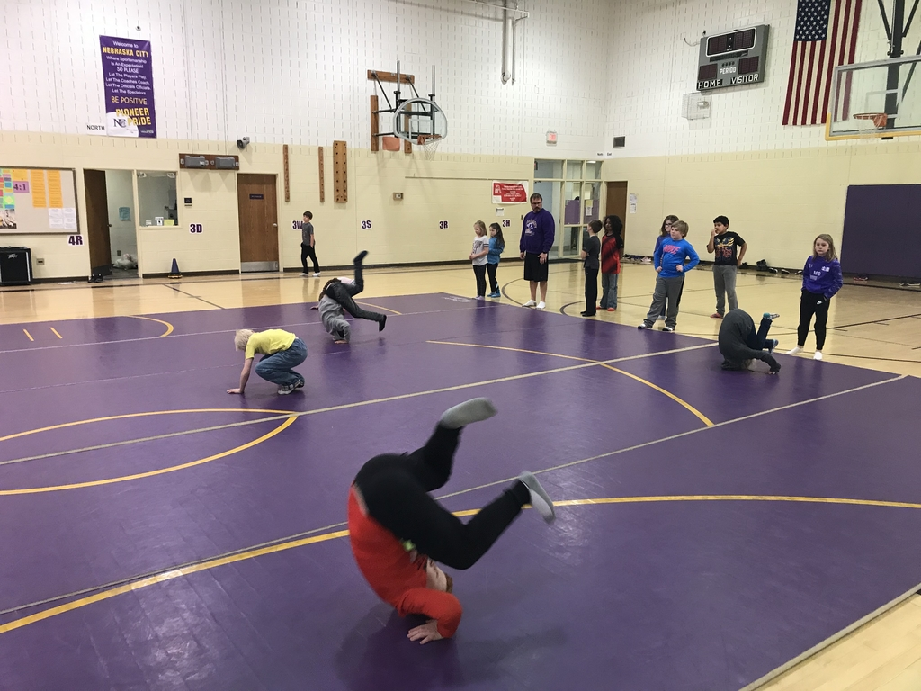 Students tumbling in P.E.