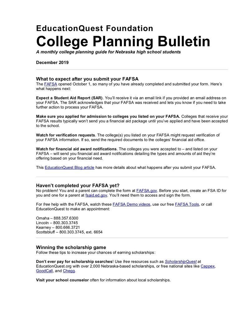 December EducationQuest Bulletin