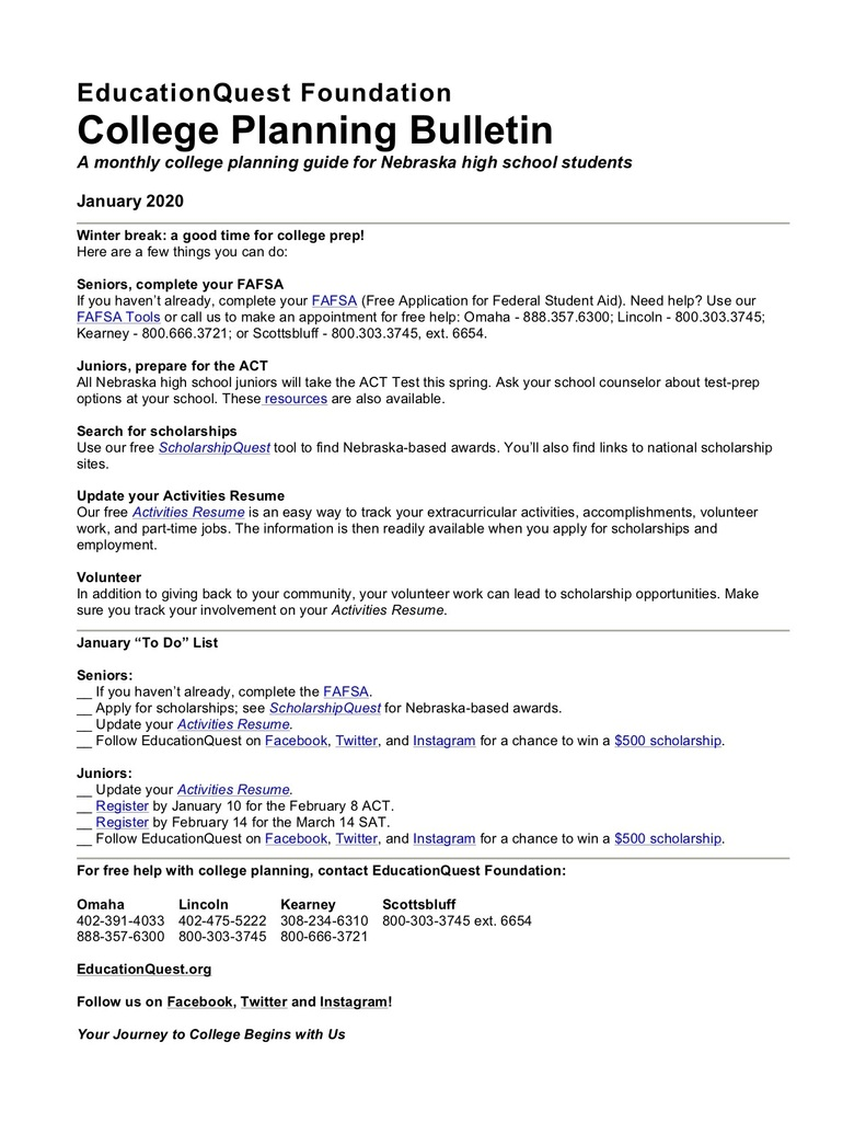 EducationQuest Foundation-College Planning Bulletin