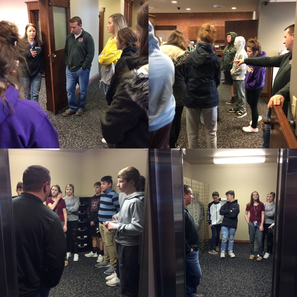 8th grade Careers students learned more about the business and finance career cluster today, while touring Commercial State Bank.