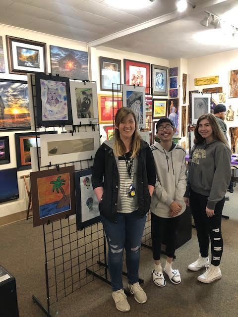 "NCHS students Renee Williams, Vinh Phan, and Katie Dia showcasing their talents at ""Self Expressions"" Gallery in Nebraska City!"